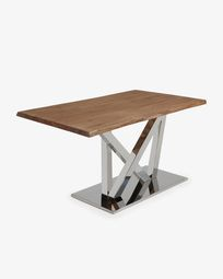 Nyc table 180 cm antique oak stainless steel legs