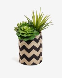 Artificial succulent mix in natural and black raffia pot