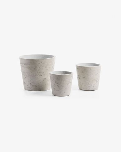 Low set of 3 planters grey