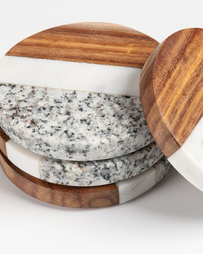 Cataleg set 4 round coasters white grey marble and mango