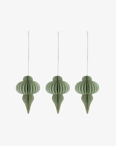 Yukii set of 3 green Christmas baubles