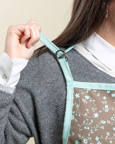 Apron Shire turquoise and brown with flowers