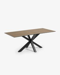 Argo table 200 cm porcelain Iron Corten finish black legs