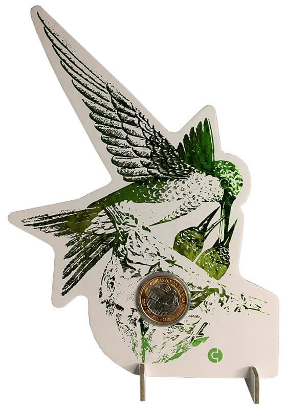 Blister beija-flor verde com moeda