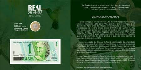 1 folder dos 25 anos do real (Real Numismática)