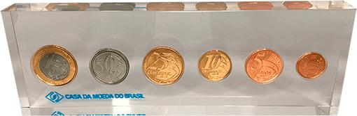 1 Set de moedas do real Flor de Cunho no acrílico