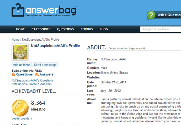 AnswerBag answers user profile designs