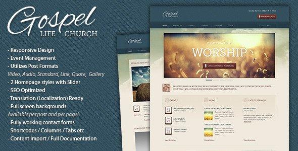 responsive WordPress church themes