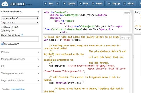 jsFiddle webapp coding design prototypes