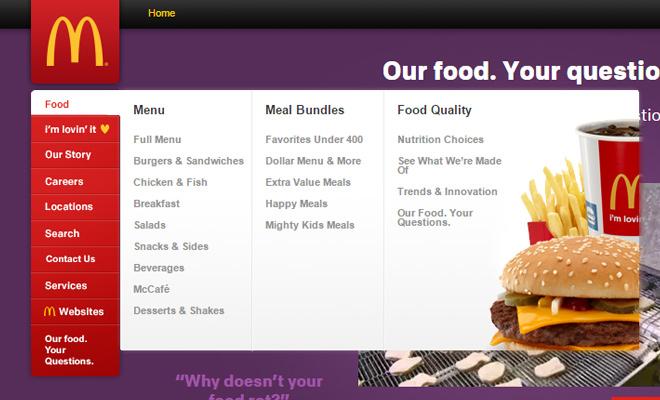 mcdonalds vertical navigation menu design