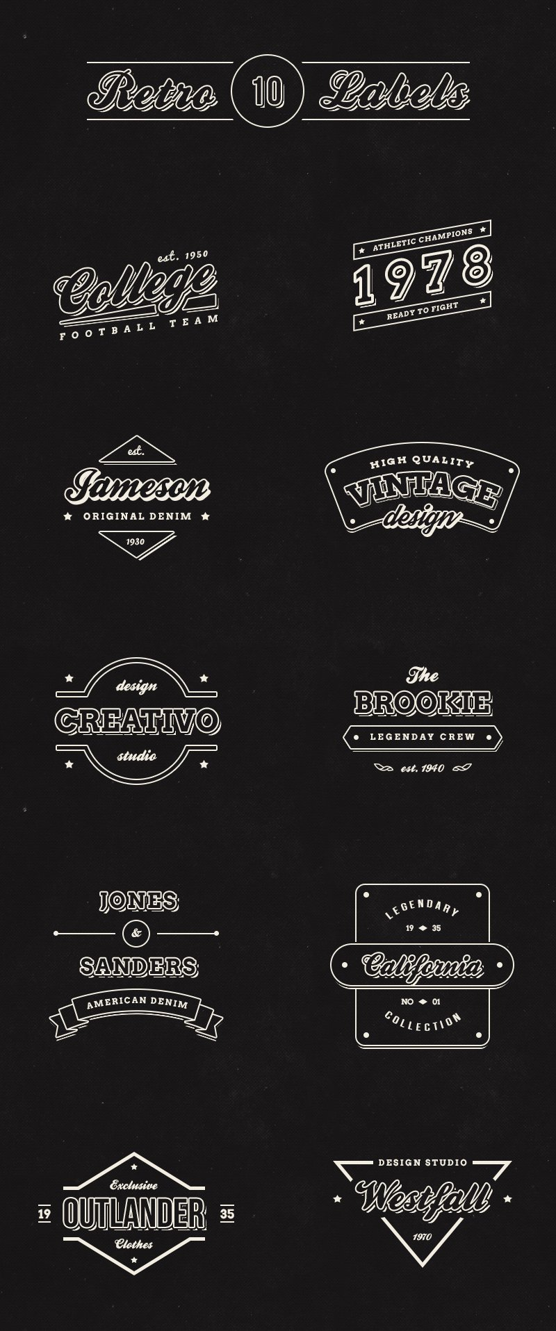 big preview - 10 free vintage retro labels logos