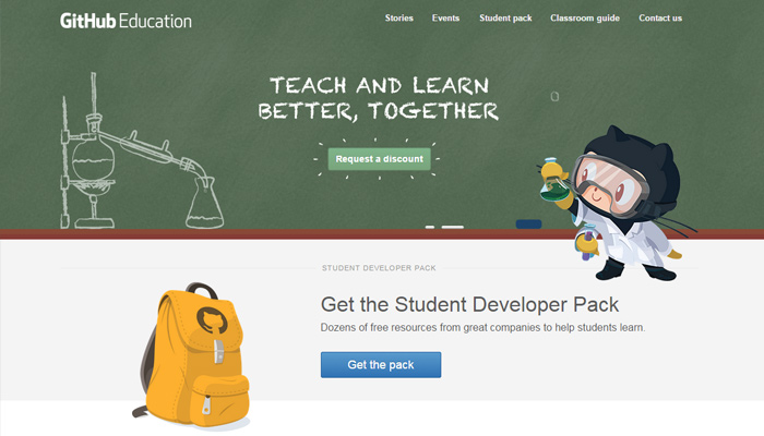 education github page interface ui