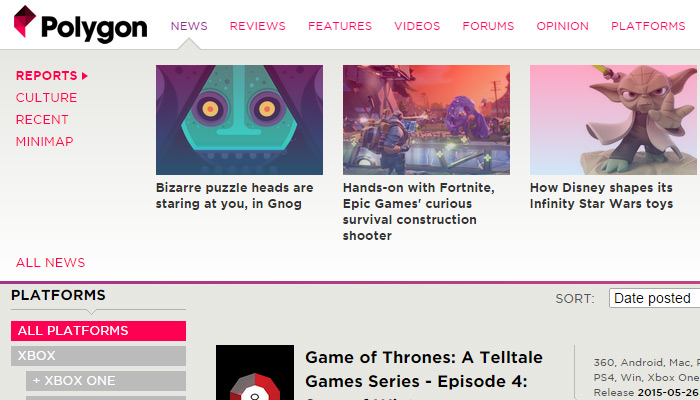 polygon gaming magazine meganav dropdown