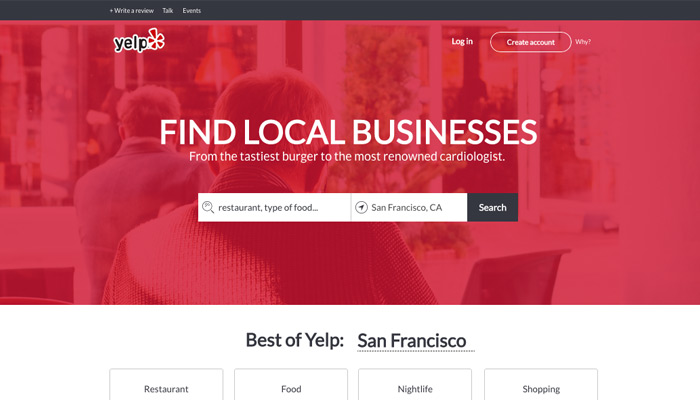 yelp homepage design ui