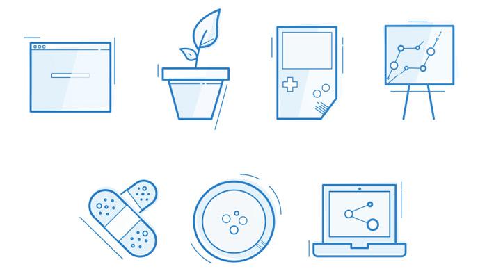 clean blueprint icons