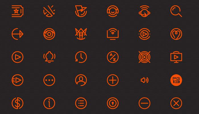 orange clean media icons