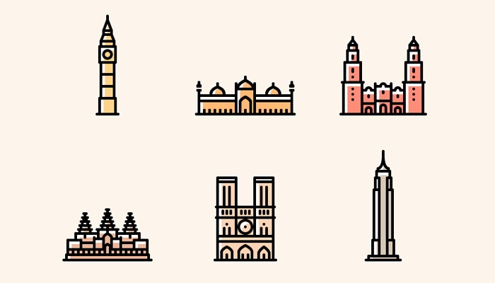 thin colorful monument icons