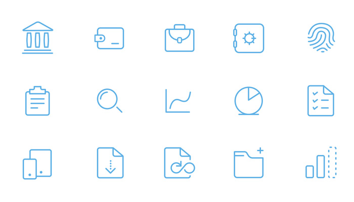 bankin icons thin lines