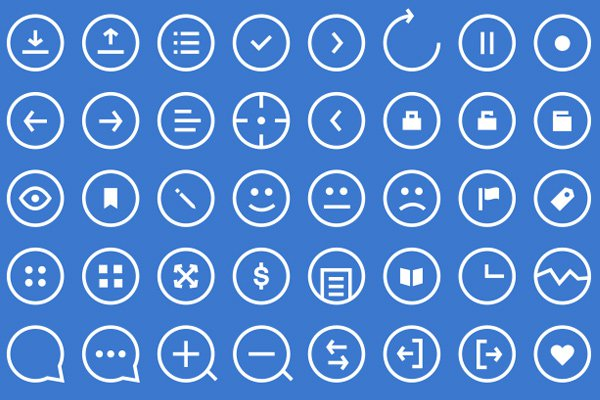 simple thin clean blue white round iconset