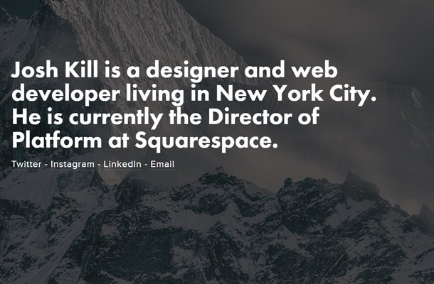 josh kill fullscreen website layout design