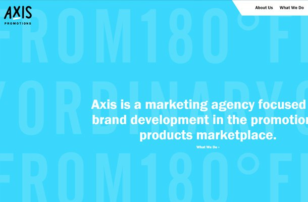 blue axis promotions website design
