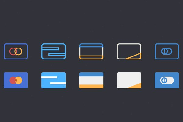 line icons filled credit cards freebie