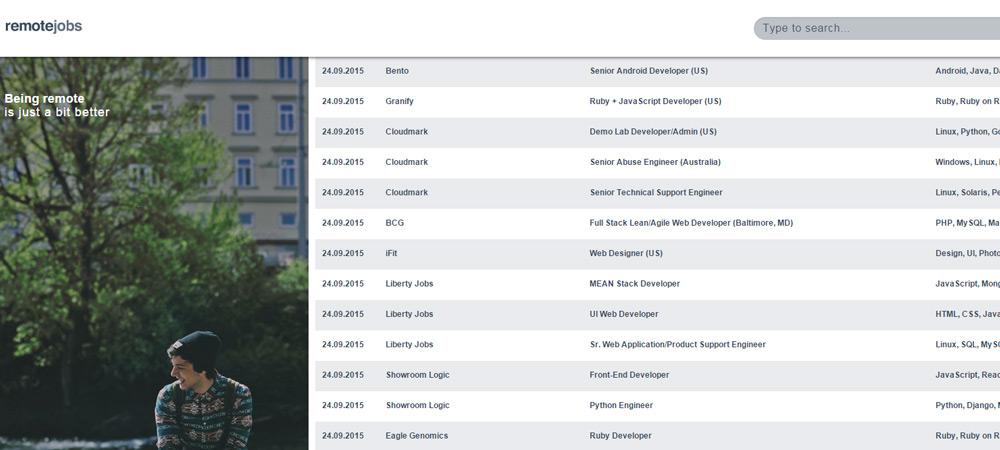 Remotejobs listing homepage