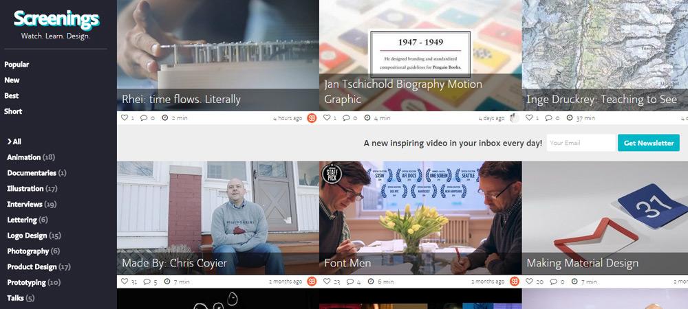 Screenings video homepage