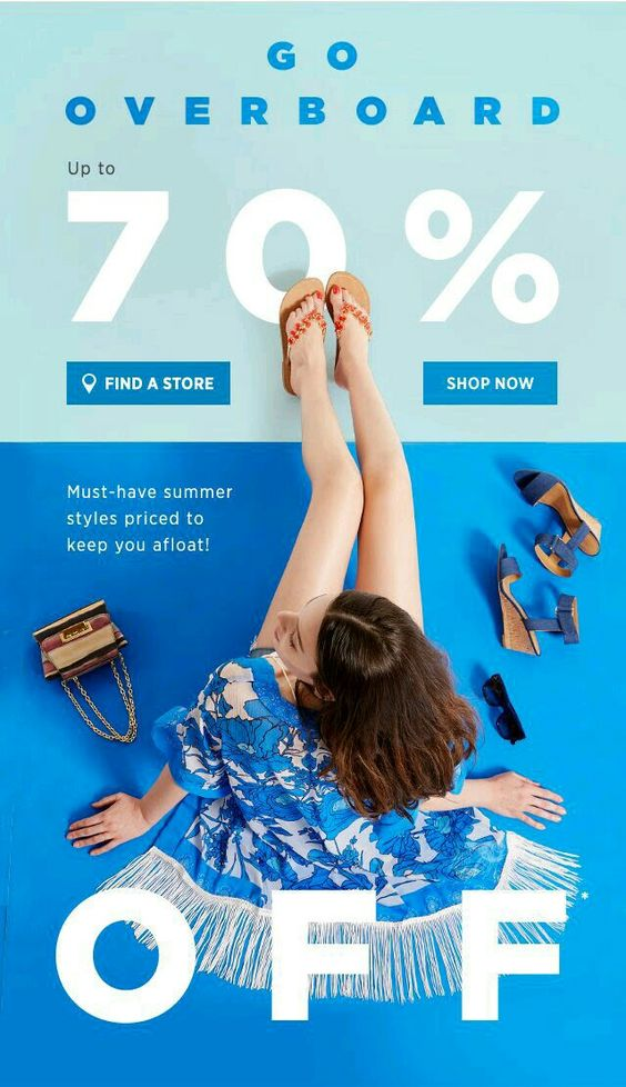 shoe sale for summer blue campaign trend