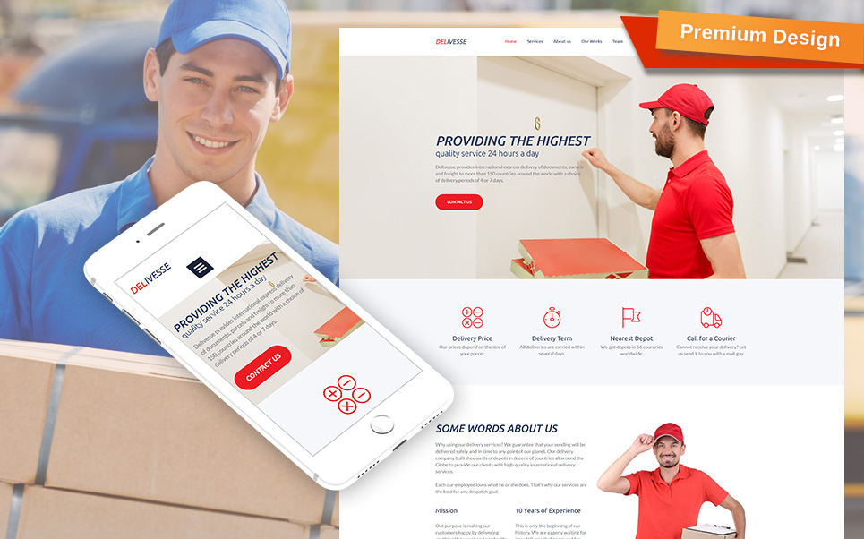 Delivesse - Delivery Services Premium Moto CMS 3 Template