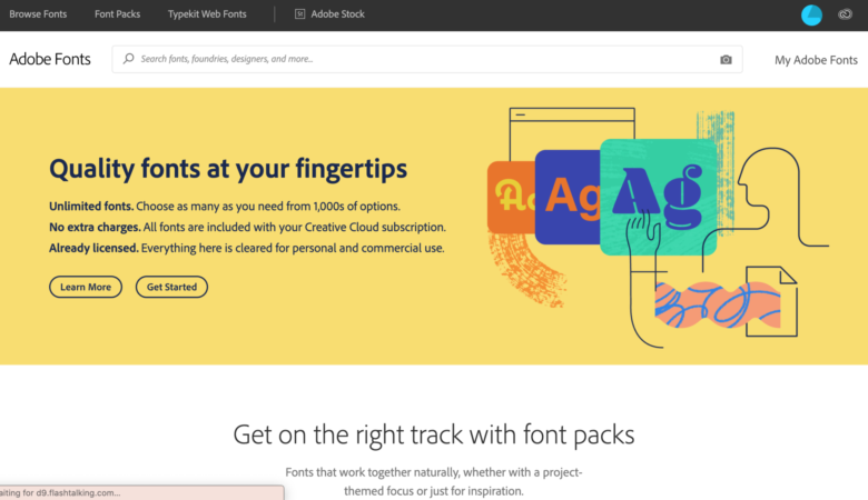 Adobe Fonts homepage screenshot 2020