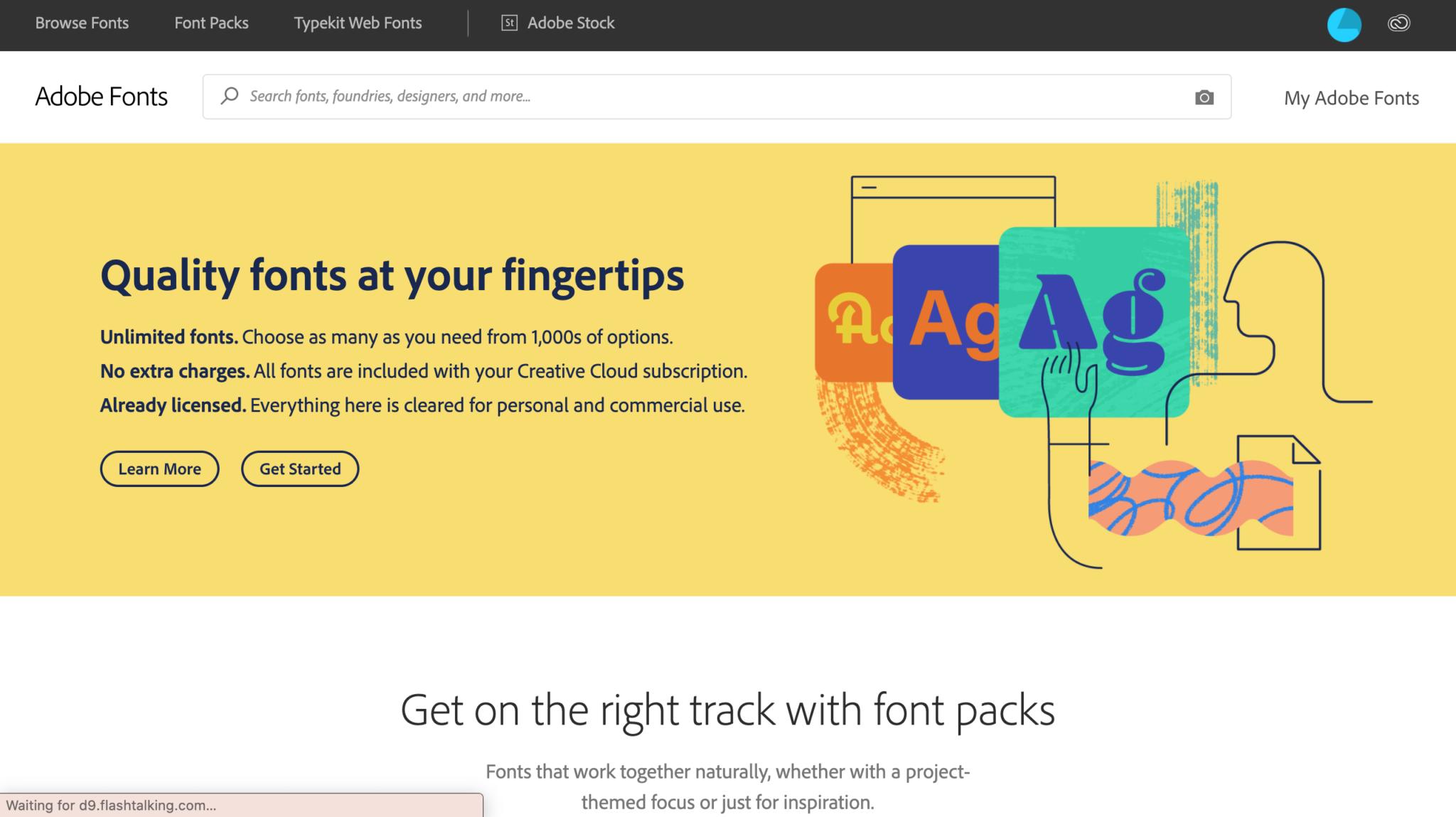 Adobe Fonts homepage screenshot 2020
