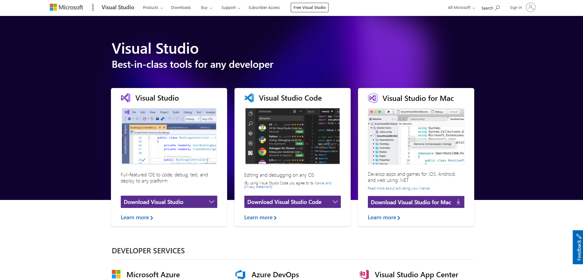 Best developer tools of 2020 visual studio home page