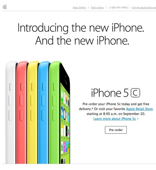iphone 5c different colors white red yellow blue green campaign