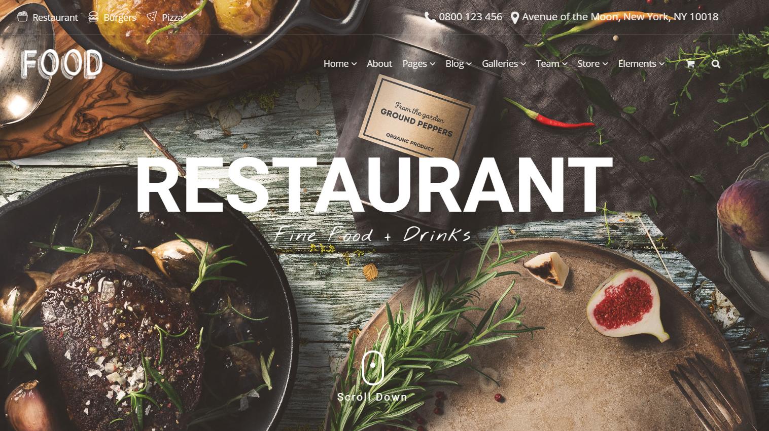 WordPress Templates for Restaurants