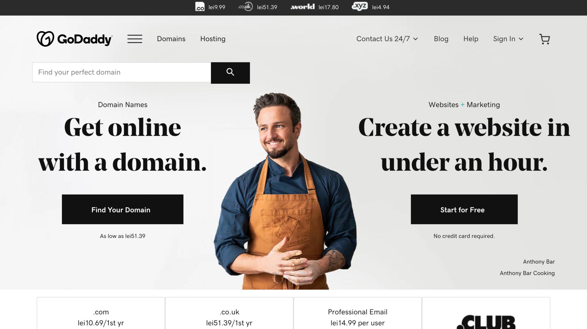 new go daddy website design