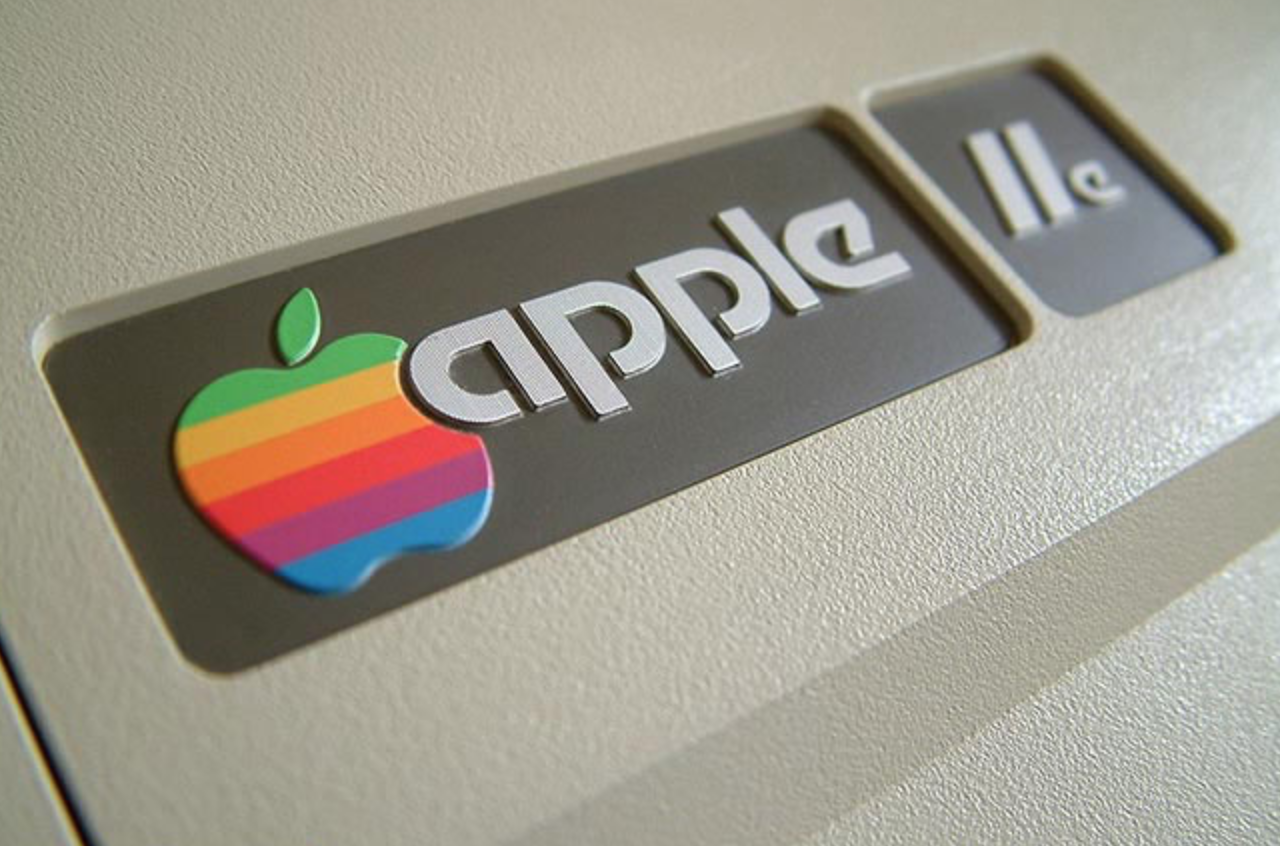 old apple logo rainbow