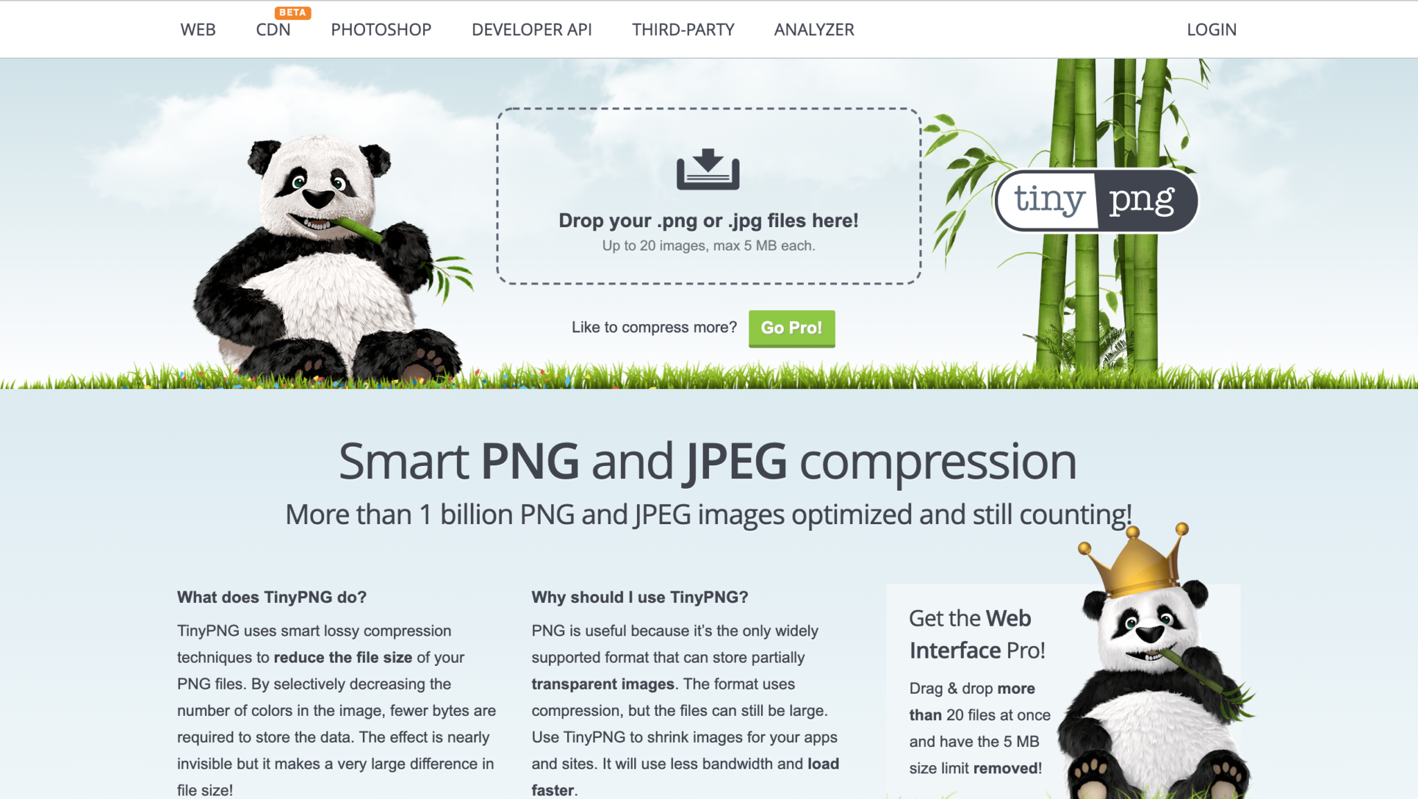 TinyPng Design Tool Homepage