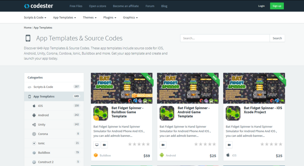 codester app templates
