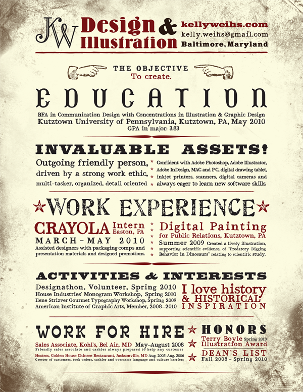 Kelly Weihss Behance KellyWeihs Resume Stands Out From The Crowd Thanks To Its Vintage And Western Style Design Starting Idea Of