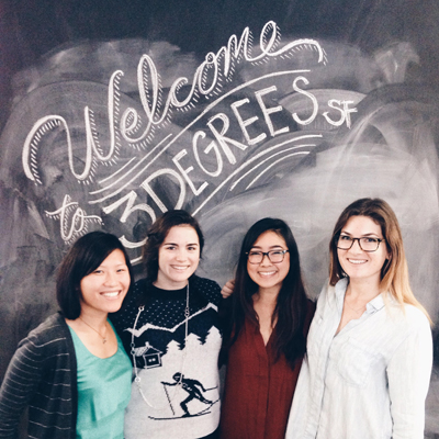 From left, Alison Lee, Megan King, Anna Kittitanaphan and Willa Howe gather for a companywide office space photo contest
