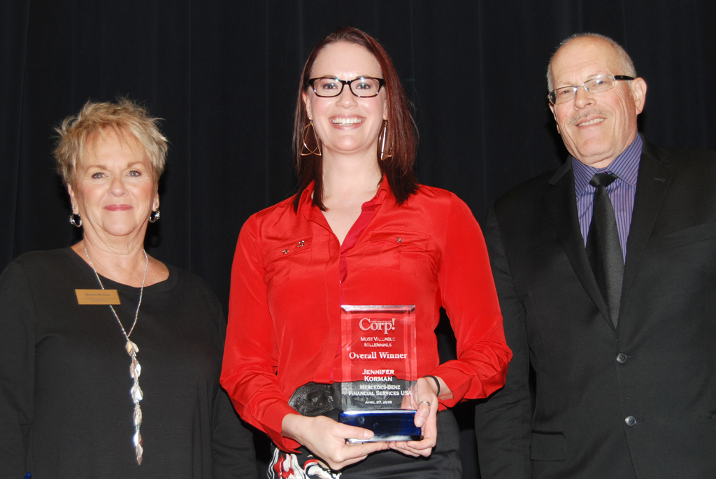 Jennifer Korman accepts her Most Valuable Millennial Overall Winner Award