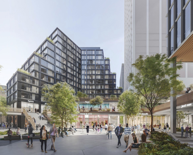 outdoor office space pop up and outdoor concerts some of detroits most iconic buildings also face the park including historic first national building chase tower bedrock breaks ground on monroe blocks adding 14m square feet
