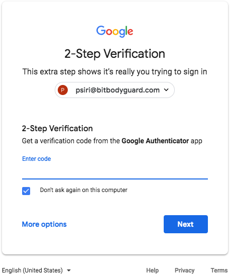 Google Authenticator 2SV