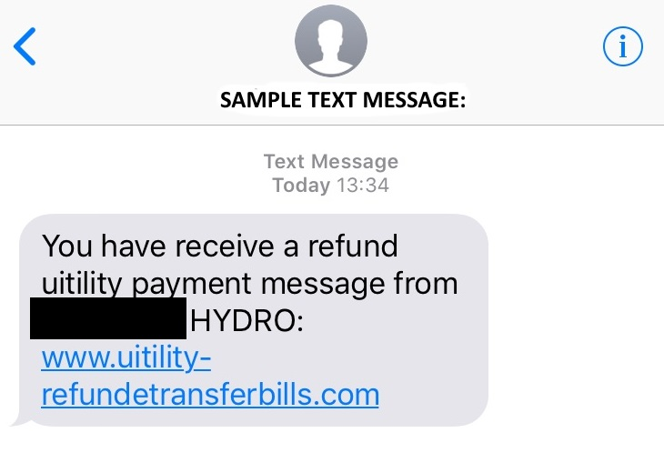 Sample scam text message