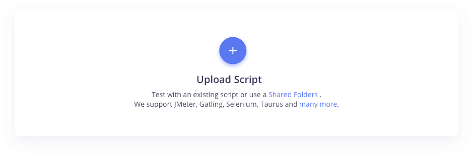 upload JMeter, Selenium, Gatling, script