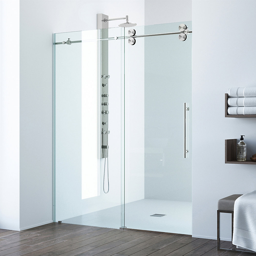 "VIGO - Elan 56""x60""x74"" Frameless Sliding Shower Door & Handle - Brushed Nickel"