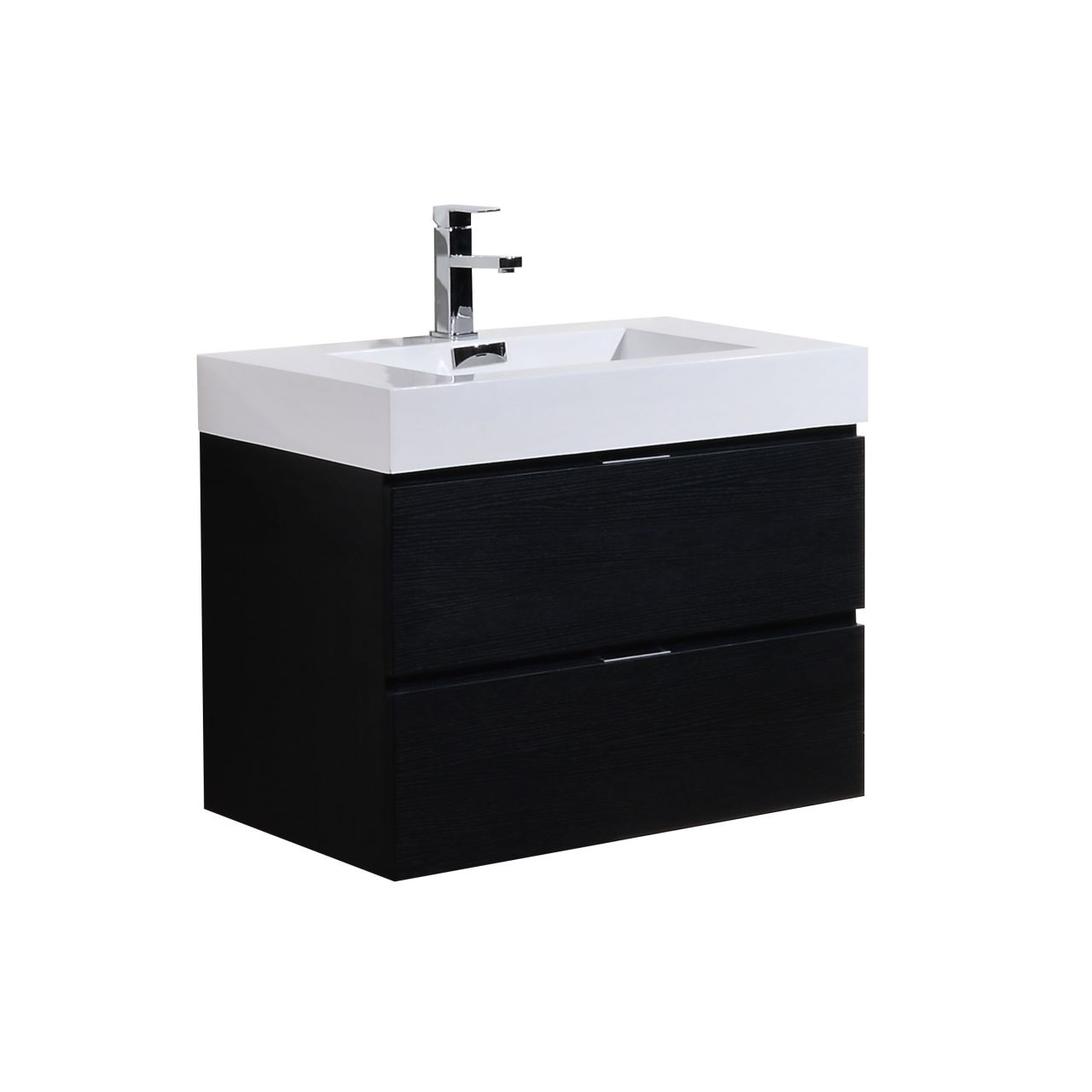 "Kubebath - 24"" Floating Vanity Set - Black Wood Finish"