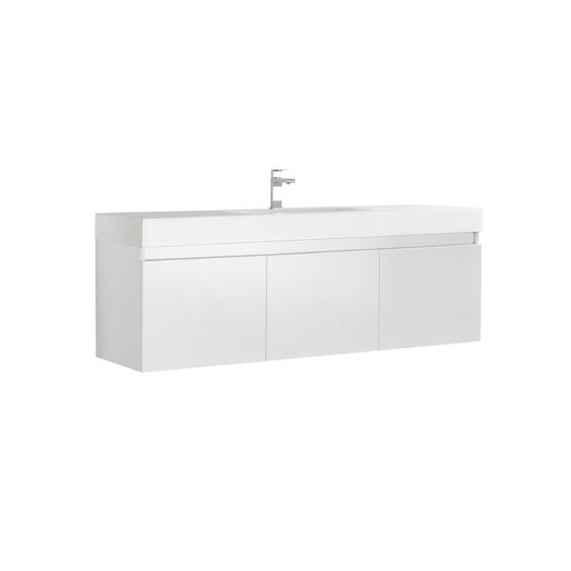 "Kubebath - 59"" Floating 3-Door Vanity Set - Glossy White Finish"
