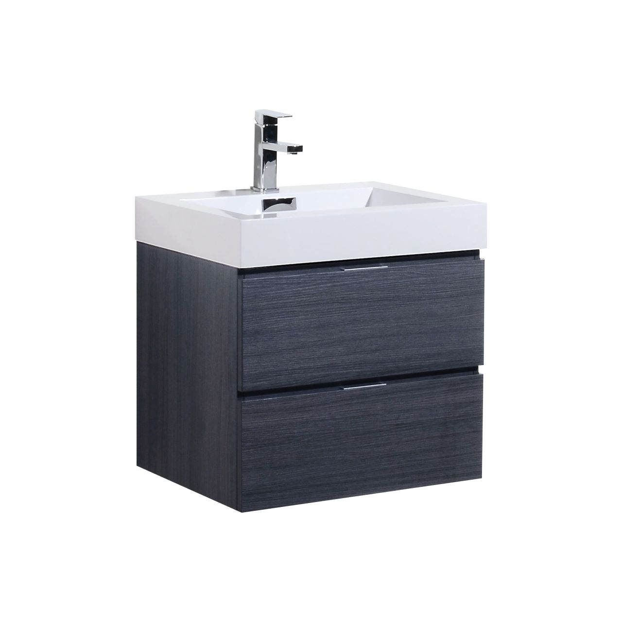 "Kubebath - 24"" Floating Vanity Set - Grey Oak Finish"